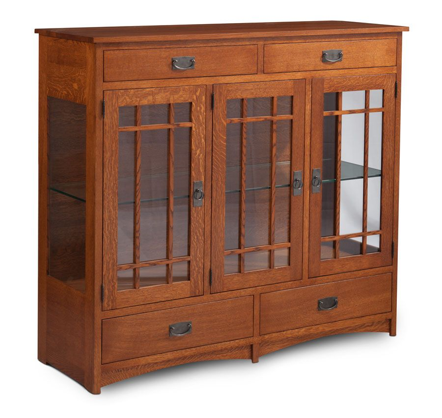 Prairie Mission Dining Cabinet With Plain Glass Doors And