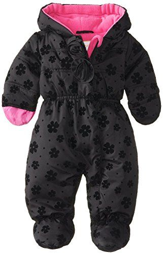 9866b5d38 Rothschild Baby Girls Waisted Rosette Footed Puffer Snowsuit with Hood -  Black (Size 6/