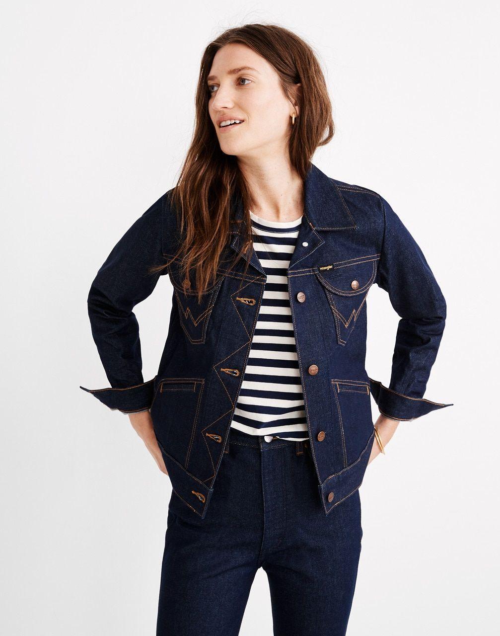 Women S Wrangler Icons Jean Jacket Jean Jacket For Girls Dark Denim Jacket Outfit Jackets [ 1280 x 1007 Pixel ]