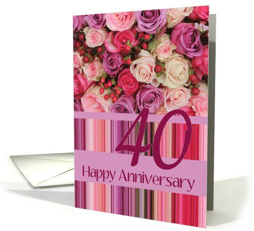 24th Wedding Anniversary Pastel Roses And Stripes Card Wedding Anniversary Cards 24th Wedding Anniversary 30th Wedding Anniversary Card