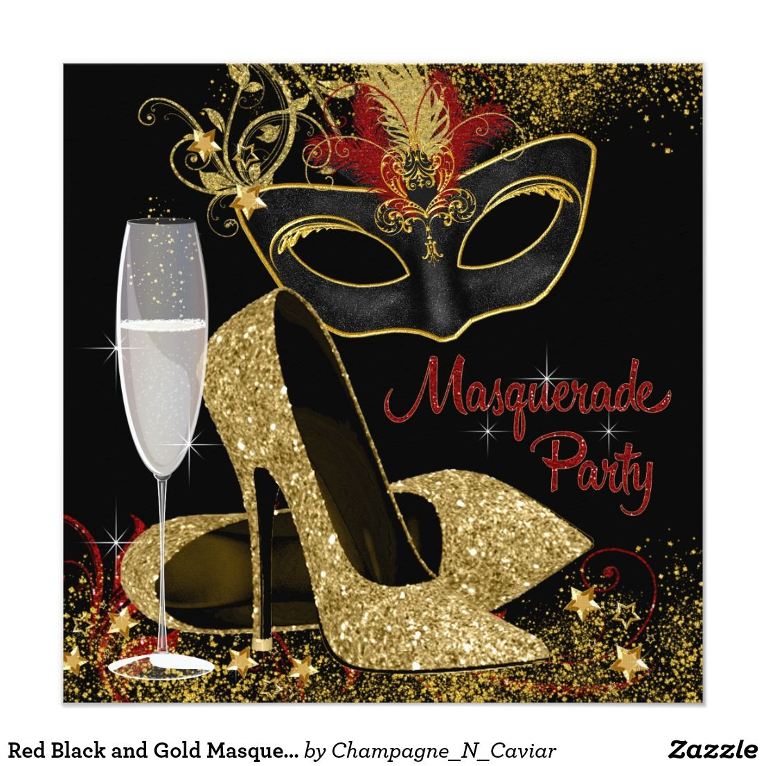 Red Black And Gold Masquerade Birthday Party Card Beautiful Invitation With Elegant Champagne Glass Feather Mask