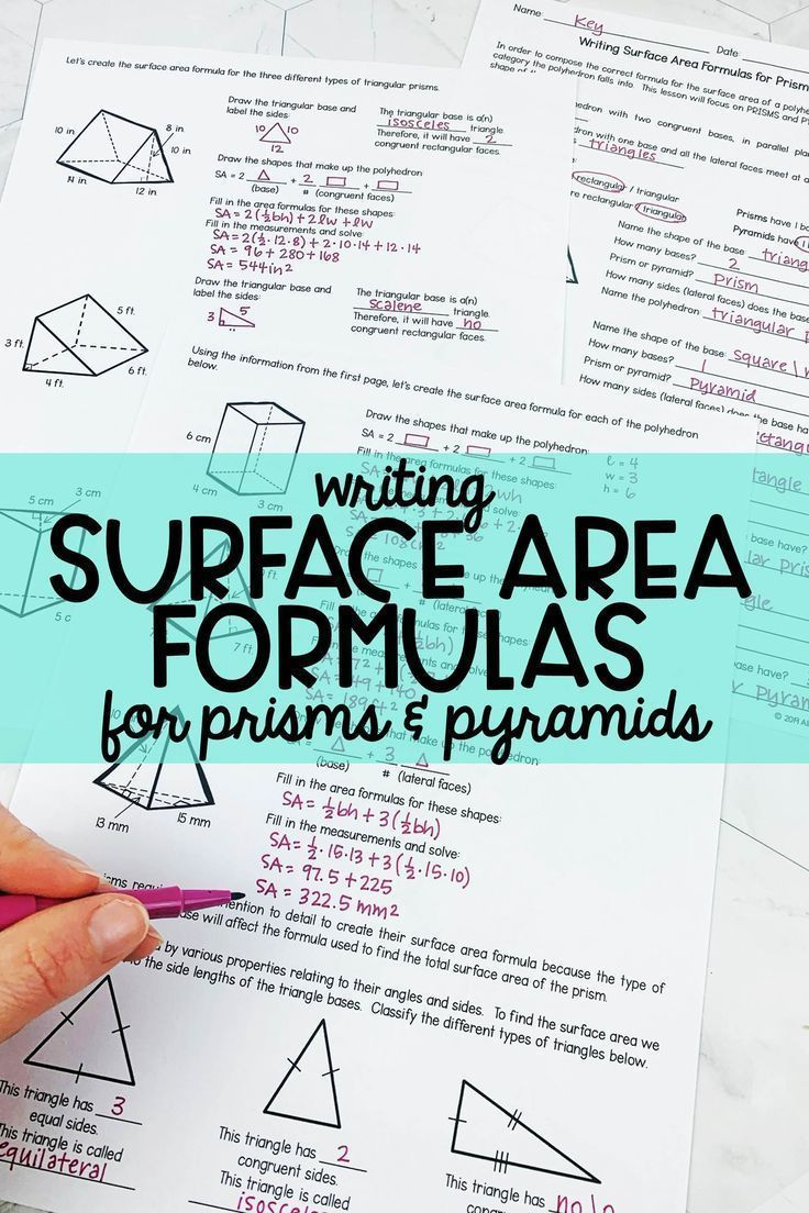 Surface Area Formulas Prisms and Pyramids in 2020 Area