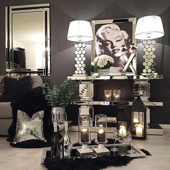 ᒪoᑌiᔕe Silver Bedroom Decor Silver Living Room Black And Silver Bedroom