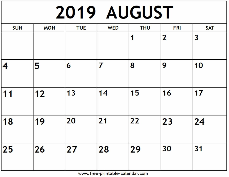 August 2019 Calendar Free Printable Calendar Dowload Printable