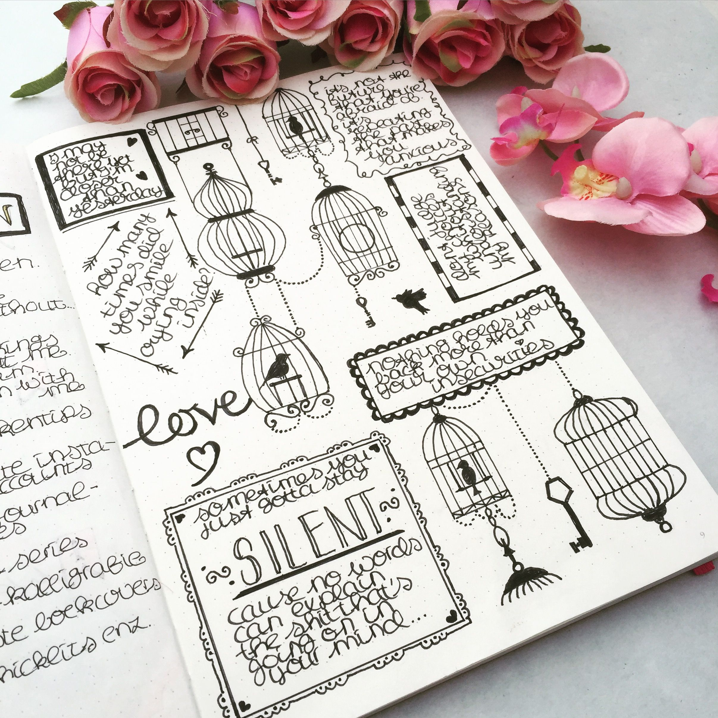 Black and white doodling and quotes in my bullet journal ...