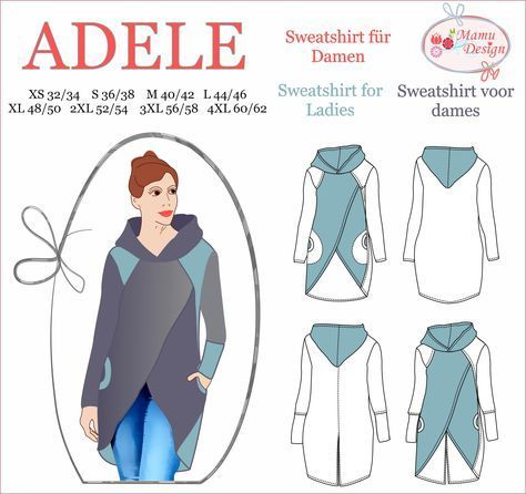 Photo of Sewing instructions & pattern (pattern) Sweatshirt ADELE, Gr. 32-62