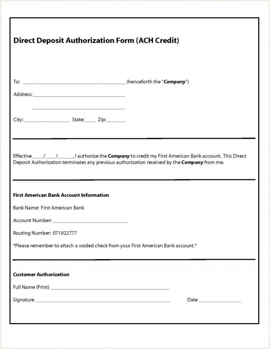 Explore Our Image of Generic Direct Deposit Form Template