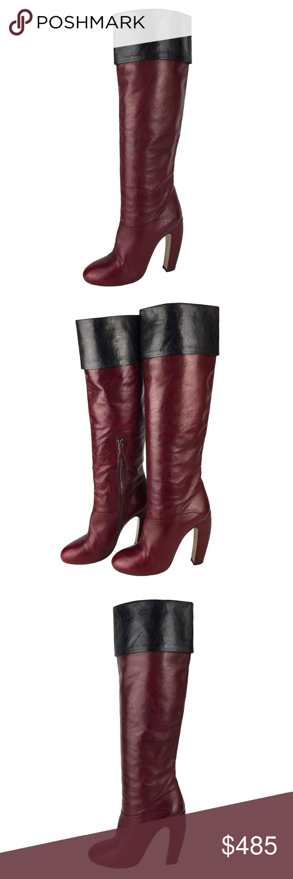 216c21d3adfa Miu Miu Prada Cuffed Knee Leather Boots In Excellent Pre-Owned Condition.  Size 38