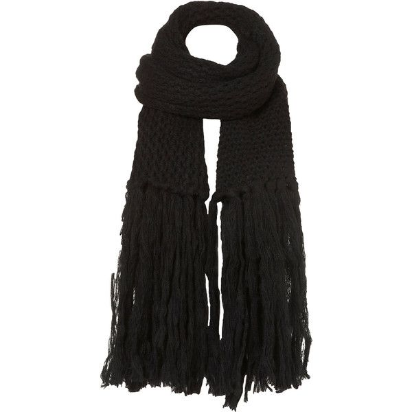 TOPSHOP Cross Stitch Scarf ($15) ❤ liked on Polyvore featuring accessories, scarves, black, topshop, long shawl, black scarves, long scarves and black shawl