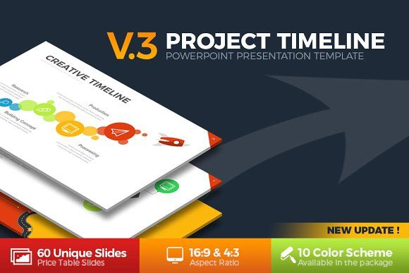 Project Timeline - Updated V4 Timeline, Presentation templates - project timeline