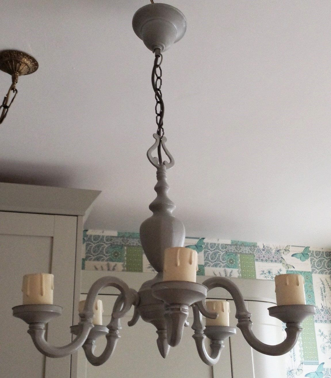 Chandelier light fixture gorgeous paris grey with old white detail chandelier light fixturegorgeous paris grey chalk paint and wax upcycled lighting shabby chic lighting pendant lighting ceiling lighting arubaitofo Gallery