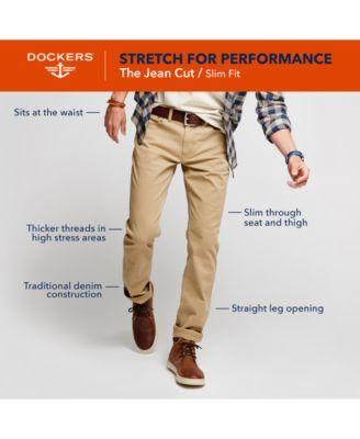 Dockers Men's Stretch Slim Fit Jean Cut Sateen Pants D1 - Tan/Beige 34x32
