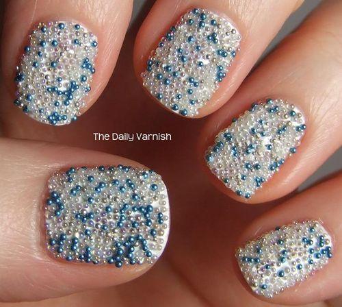 Beautifuly Beaded Nails Finger Nailsbeadsnail Polishnail Art