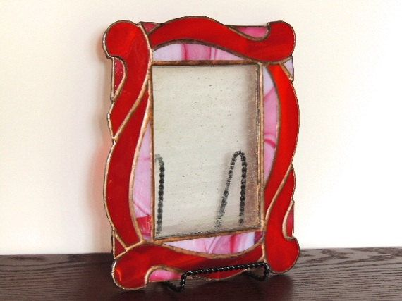 Red Waves Stained Glass Picture Frame
