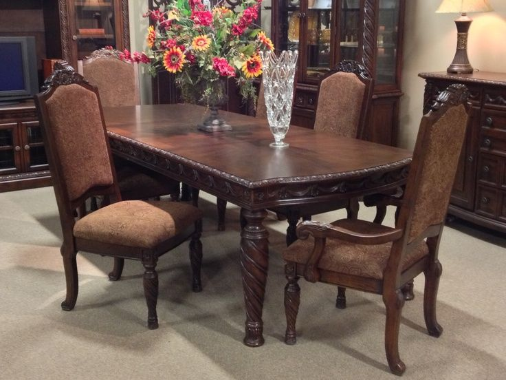 North Shore Piece Dining Room Set Ashley Furniture Double Pedestal Extendable From