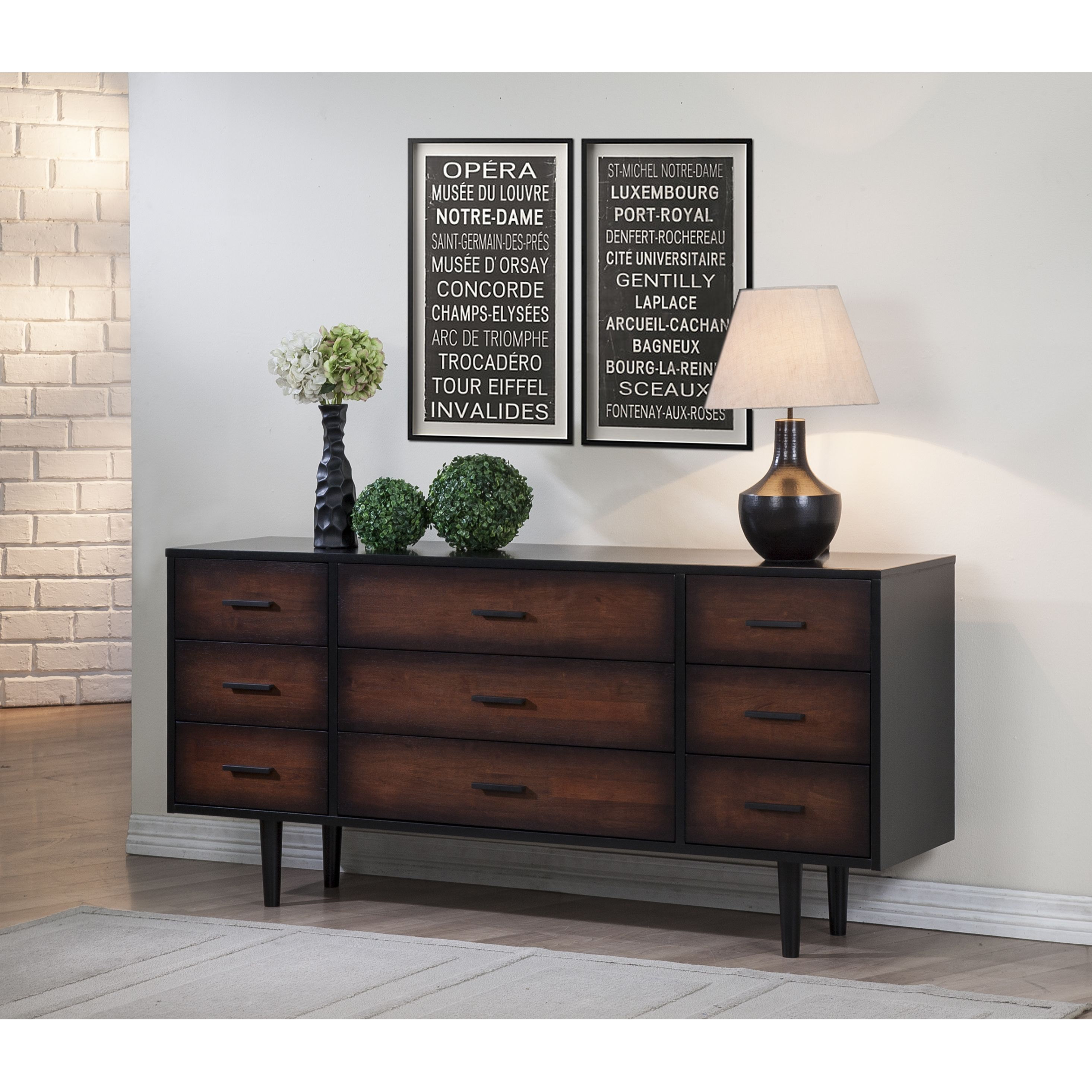 Best Preston 9 Drawer Cherry Black Mid Century Style Dresser 400 x 300