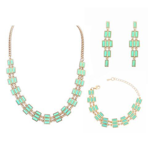 A Suit of Fresh Faux Gem Geometric Shape Necklace And Earrings And Bracelet For Women