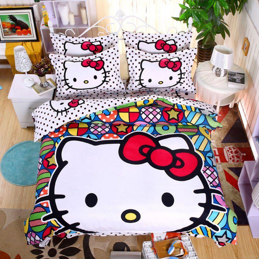 Cute Duvet Cover Set Hello Kitty Bedding Set Polyester