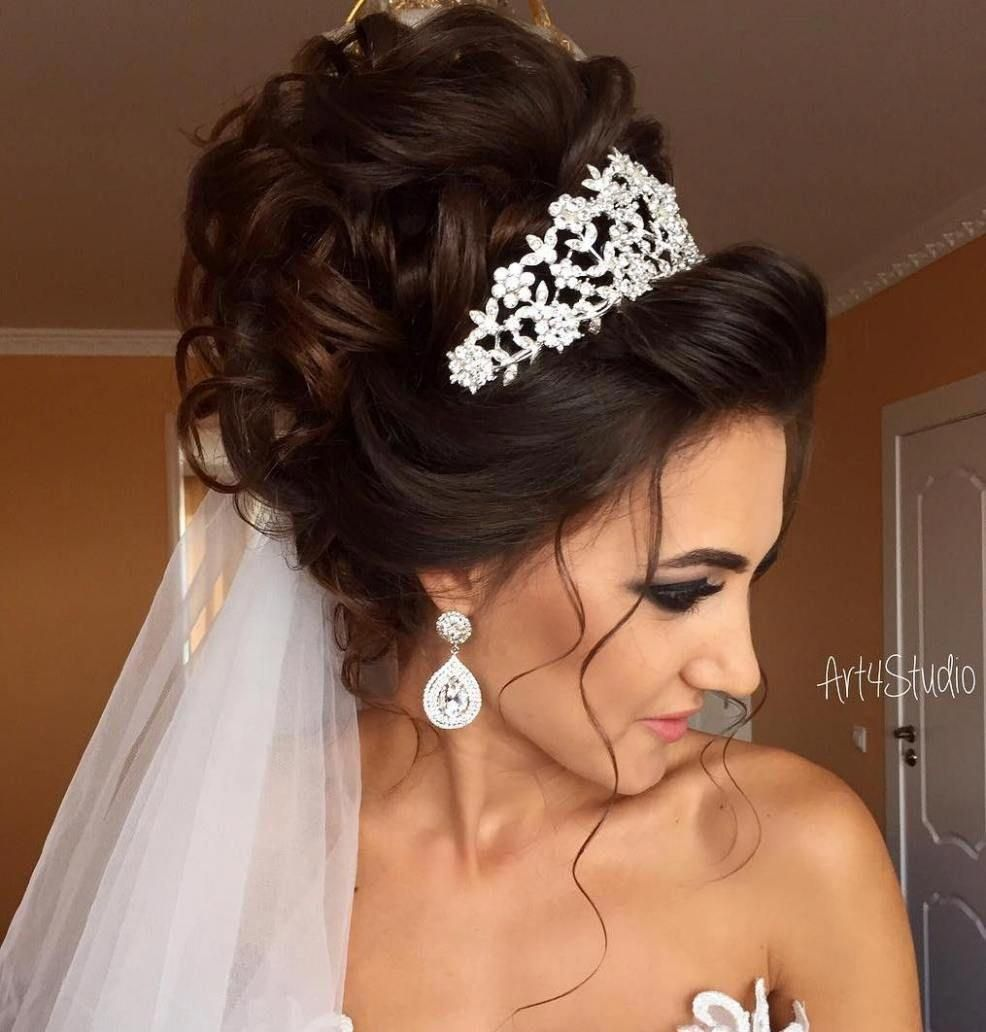 Curly Wedding Updo With Tiara And Veil Weddinghairupdos Curly Wedding Updo Long Hair Styles Long Hair Updo