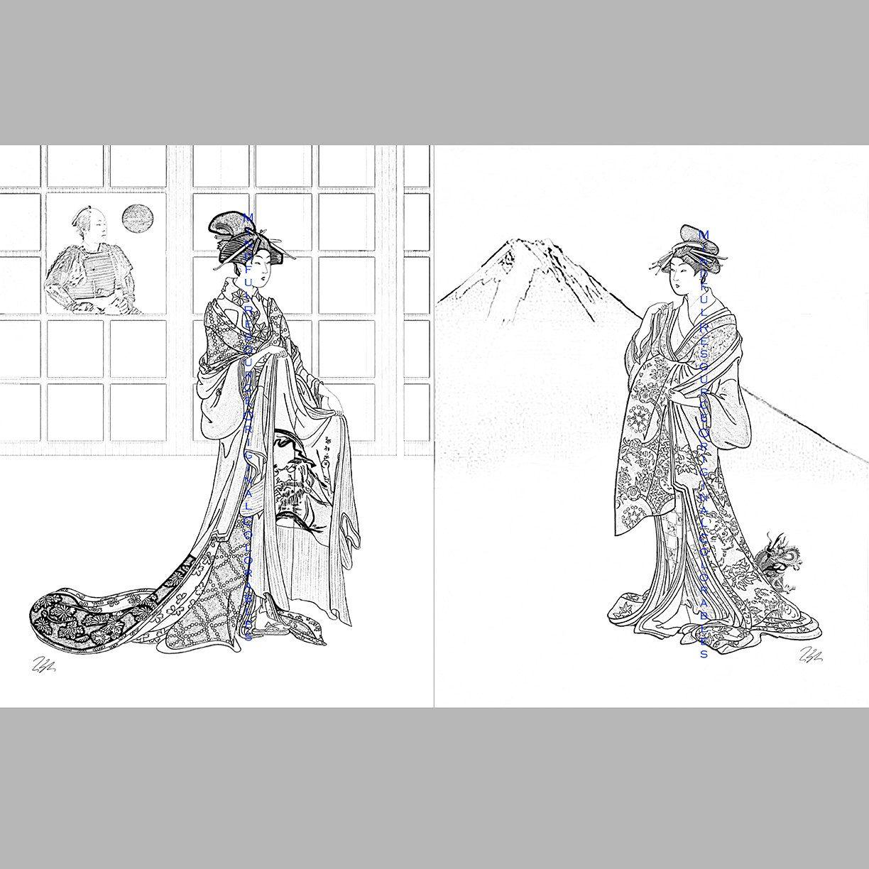 Samurai Kimono Art Coloring Pages INSTANT Digital Download Playful ...