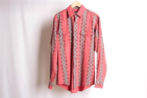 62ddfc60 SOUTHWEST style men's ABSTRACT 90s long sleeve button up shirt ...