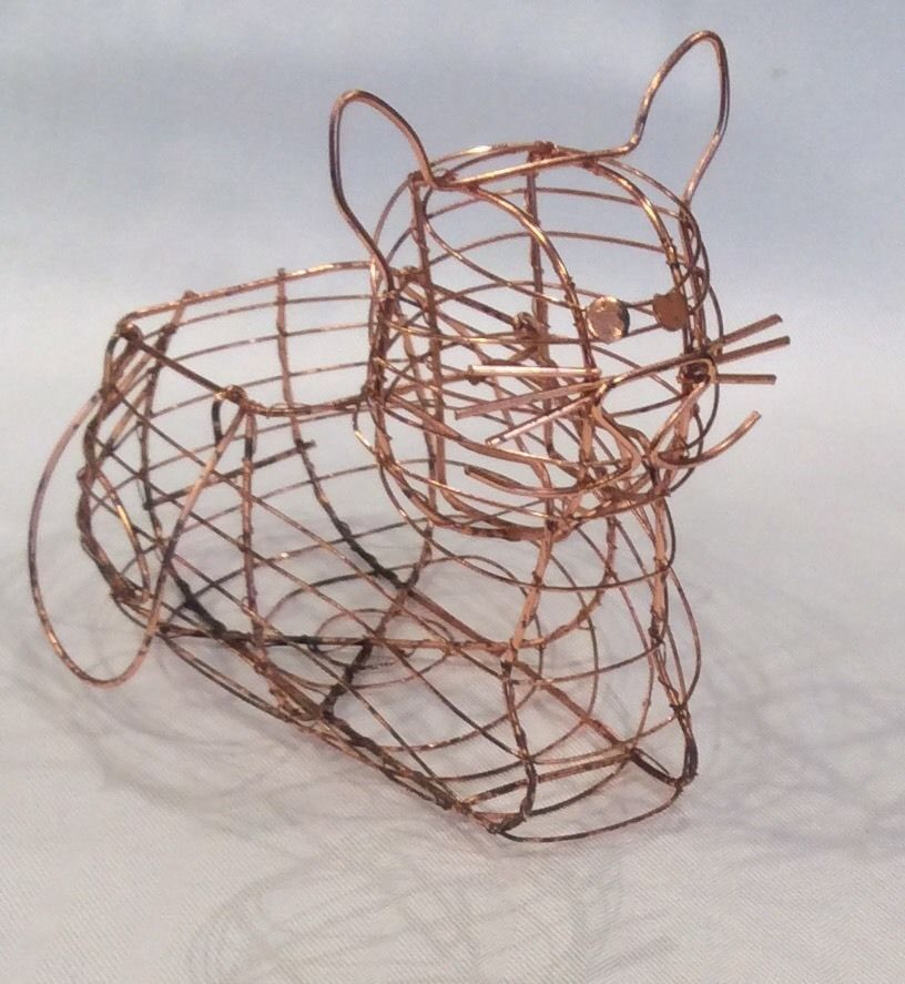Vintage French Country Copper Wire Cat Shaped Egg Basket