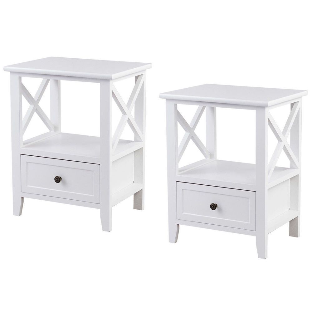 White Nightstand Bedside End Table Set of Two Shelf