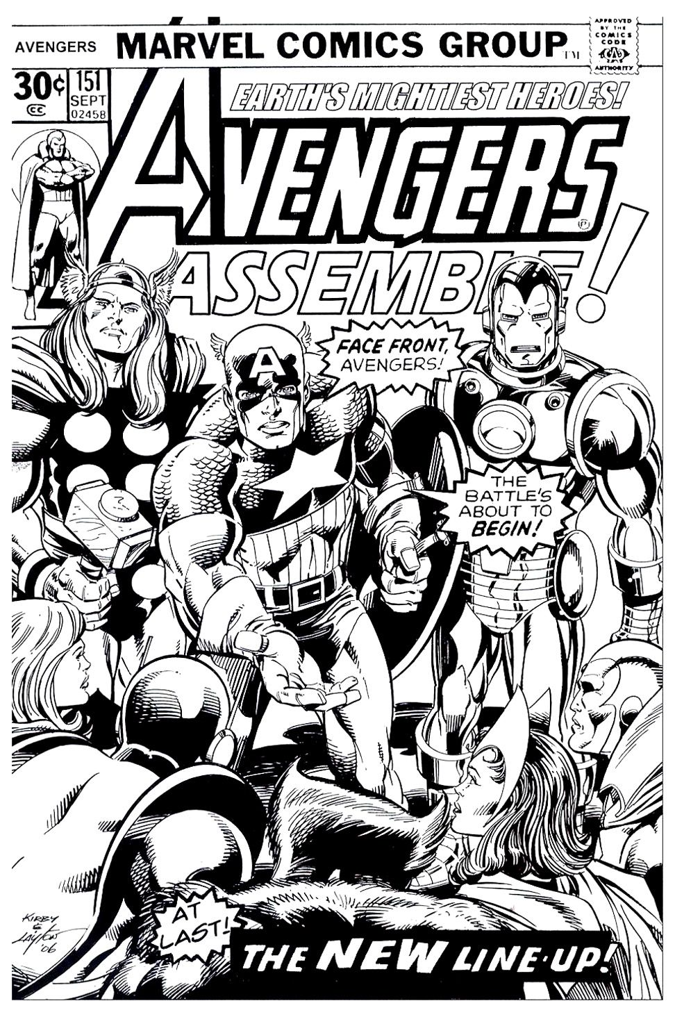 Free Coloring Page Adult Avengers Couverture A Cover Of Marvel Comic Book In Black And White With The Whole Team