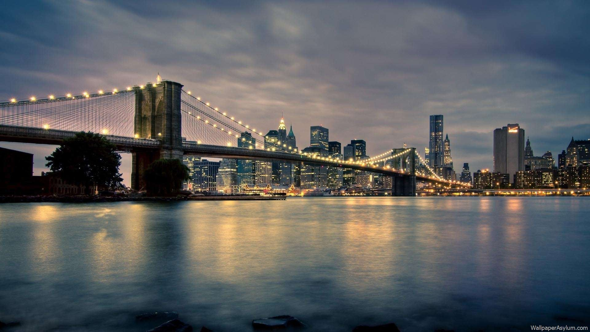 Beautiful Bridges Brooklyn Brucke New York Hintergrundbild Manhattan New York