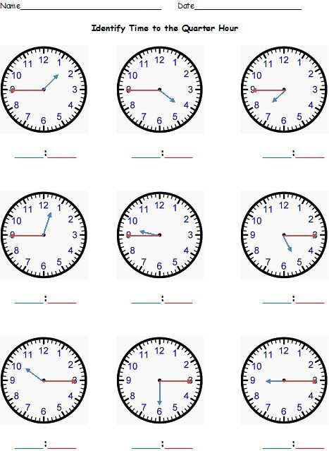 Telling Time to the Nearest Hour, Half Hour, Quarter Hour, Five - time worksheets
