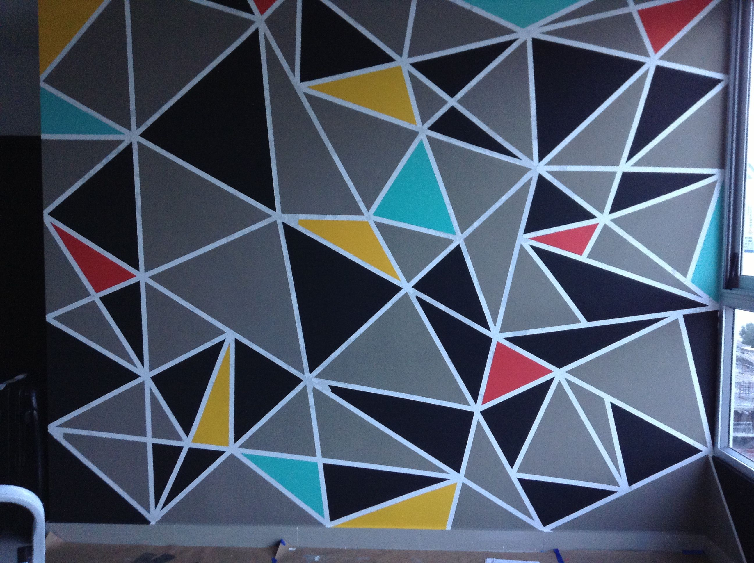 My Triangle Accent Wall Wall Paint Designs Geometric Wall Paint Geometric Wall Mural Rectangular room paint color
