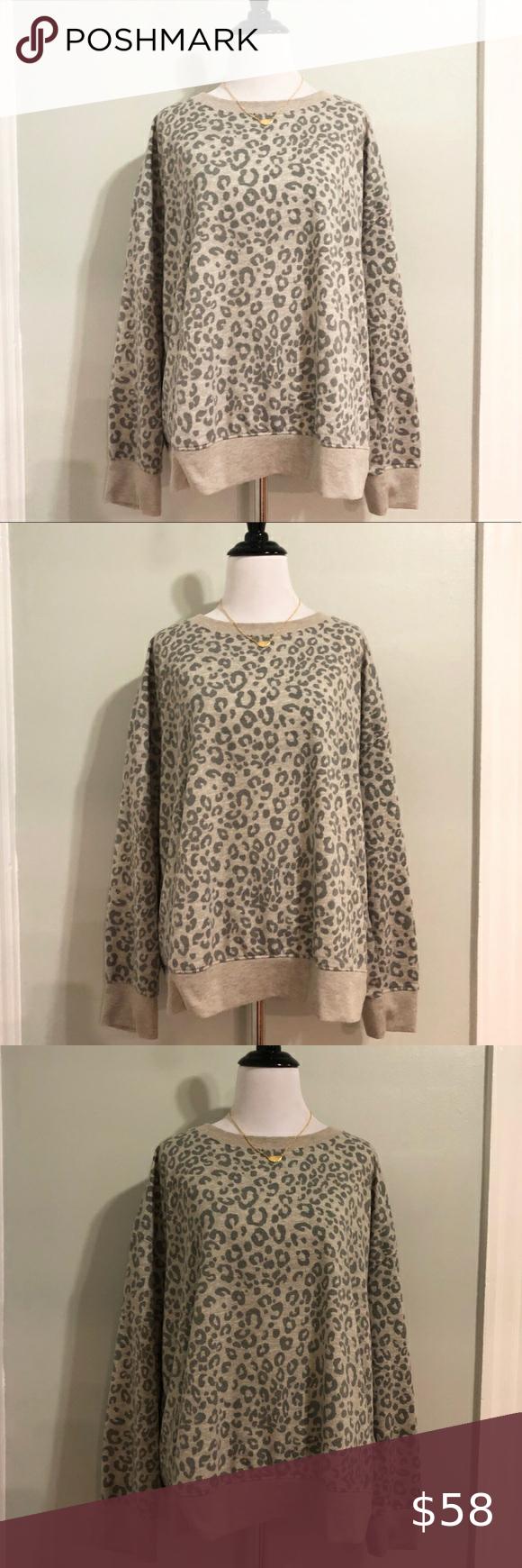 Splendid Tan Leopard Print Crewneck Pullover Splendid Sweaters Pullover Sweater Sweatshirts Leopard Print [ 1740 x 580 Pixel ]