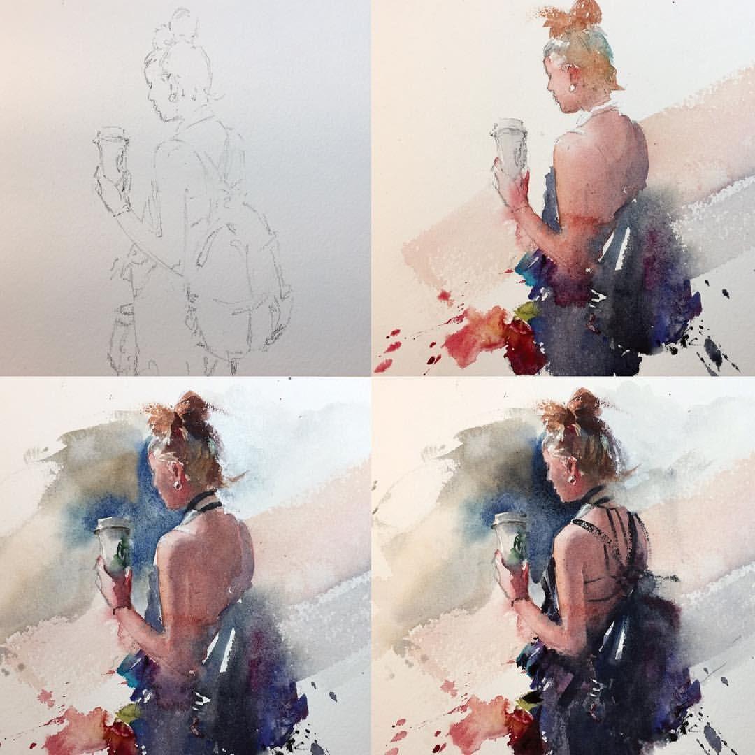 Step By Step Watercolor Art Aquarelle Eudescorreia