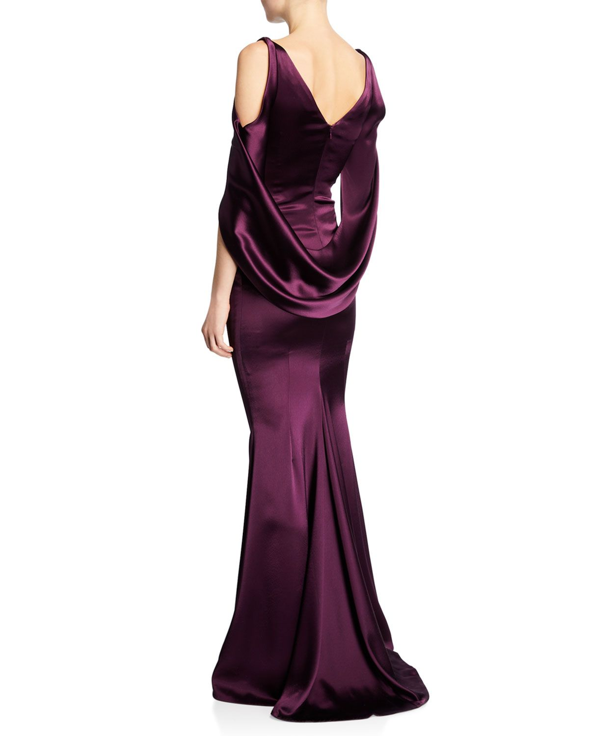 Talbot Runhof Ponceau High Neck Draped Bodice Shiny Matte Crepe Satin Evening Gown Satin Evening Gown Evening Gowns Fashion [ 1500 x 1200 Pixel ]