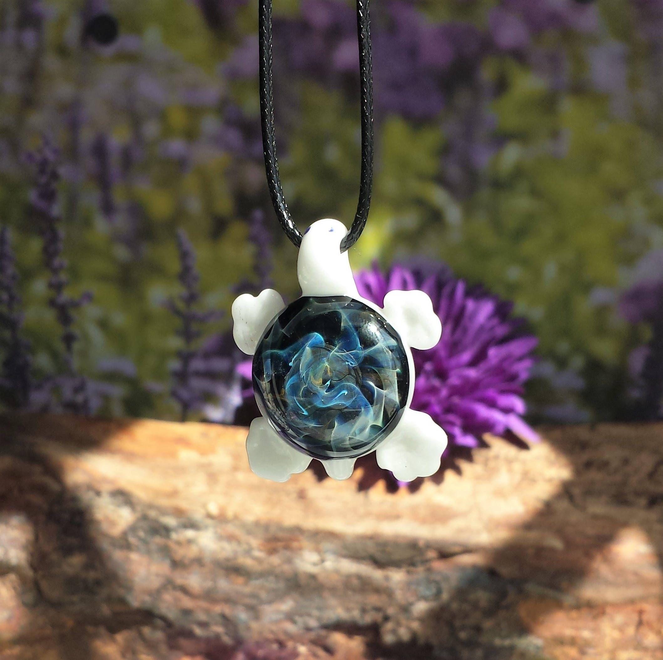 Blown Glass Galaxy Turtle Pendant Trippy Glass Heady Glass