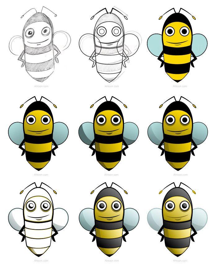 Design A Cartoon Bee With Great Effects Honeybee Art Cartoon Bee Bee Pictures