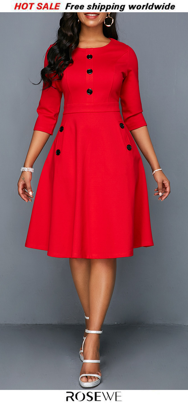 aad0884dd0a Pocket Red Button Embellished A Line Dress.  valentine. New sign-ups get 5%  off for all first orders