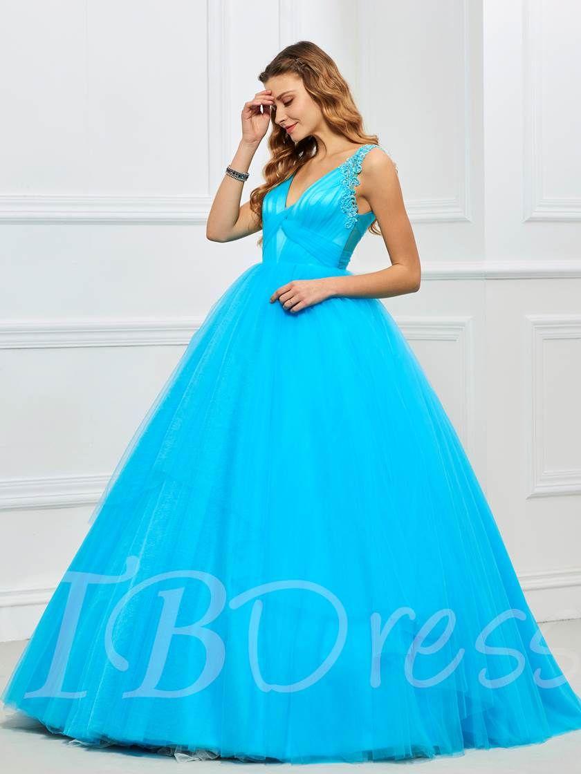 Appliques vneck pleats quinceanera dress beaded prom dress