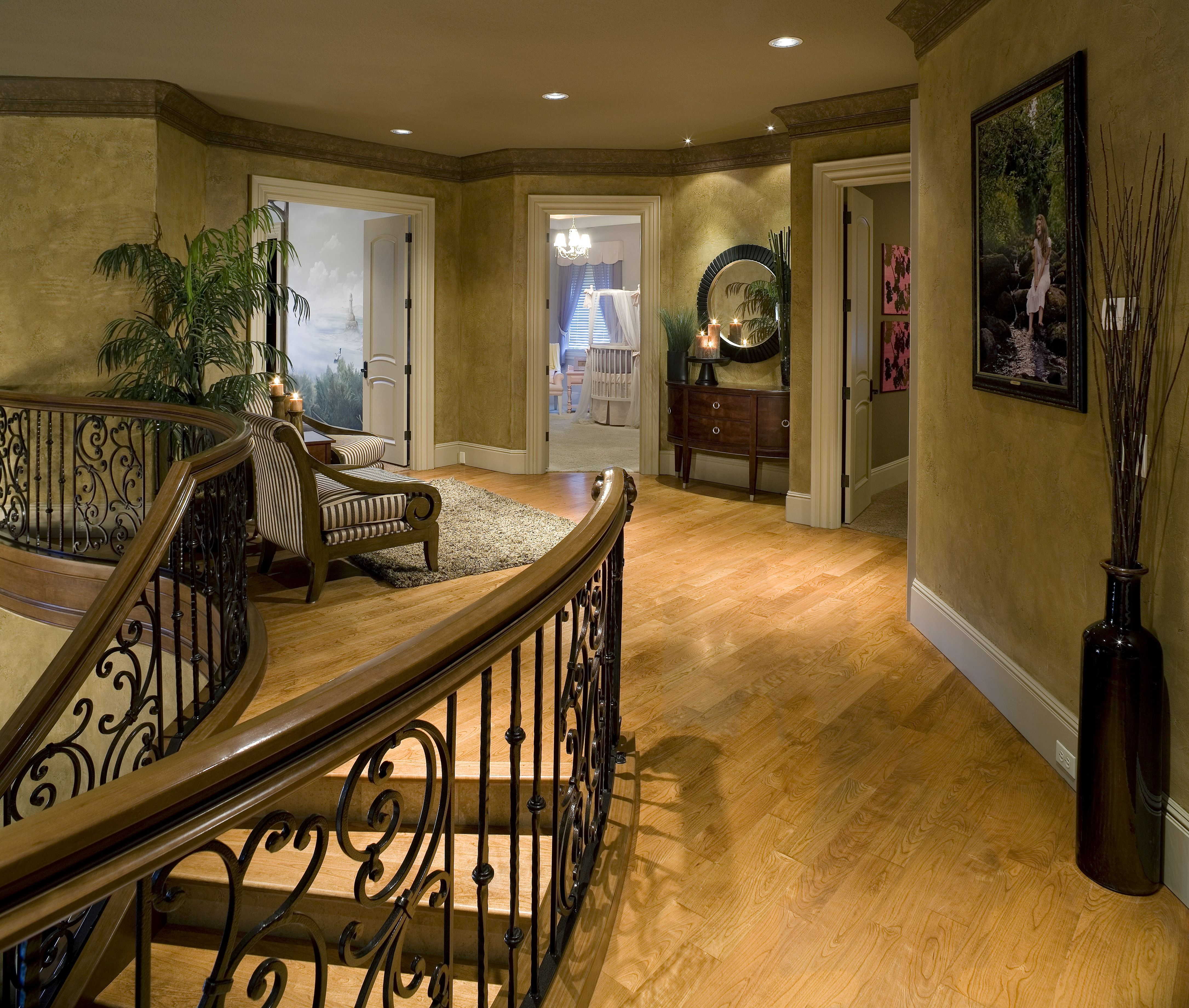 Best A Transitional Hallway With Recessed Lights Custom 400 x 300