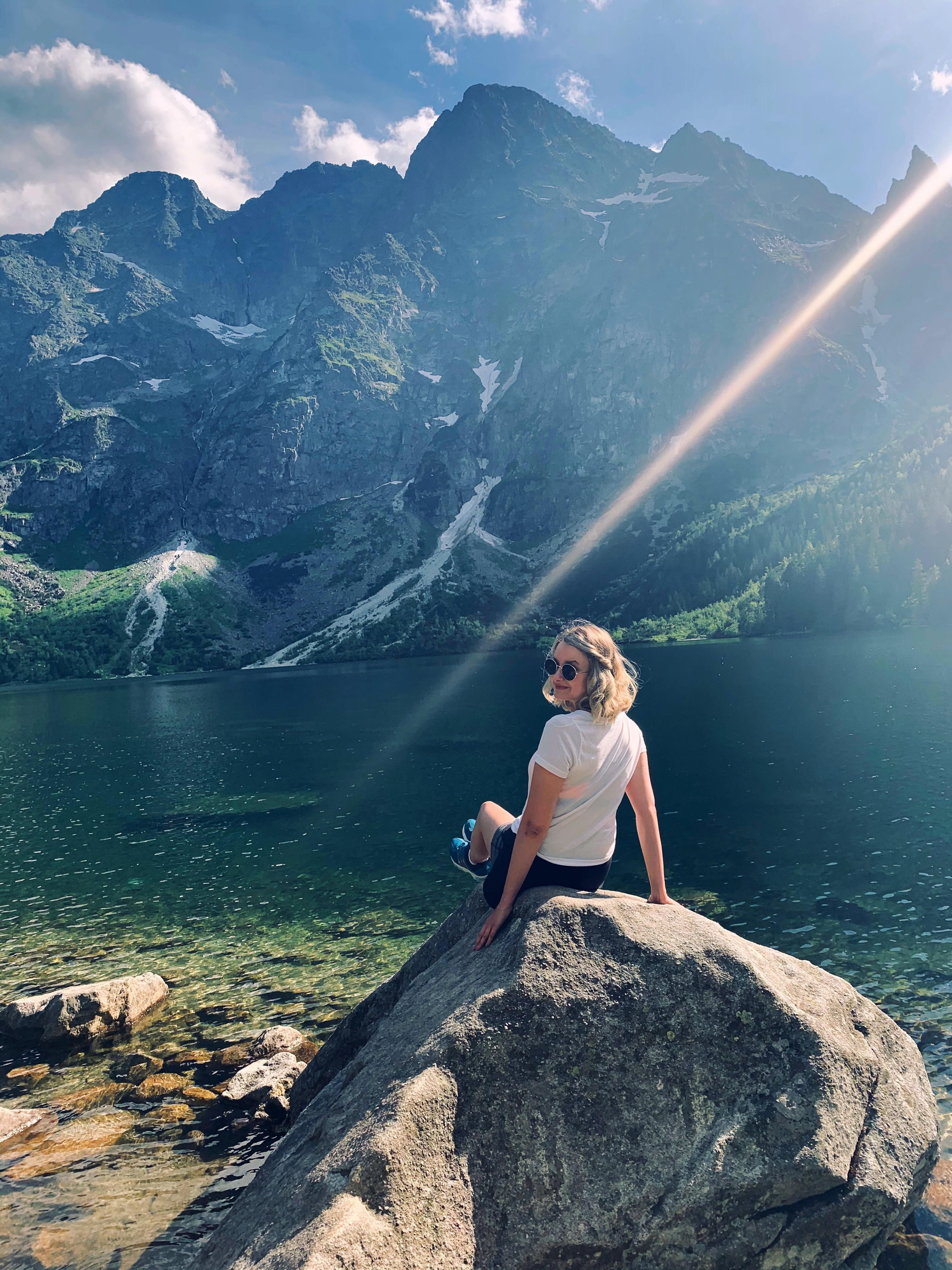 Backpacking through Poland. Morskie Oko lake at the ...