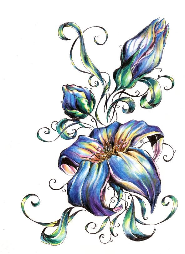Blue Flower Tattoo Designs: Flower Design Gallery In 2019