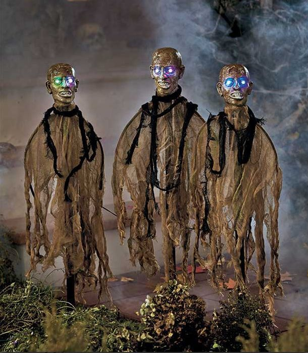 Zombie Halloween Outside Lighted Decorations 3 Set Yard