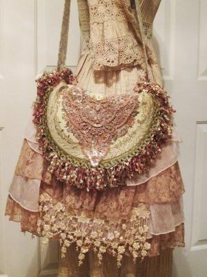 Boho Gypsy Tapestry Bag Vintage French Embellishments Loopy Fringe La� by Eva