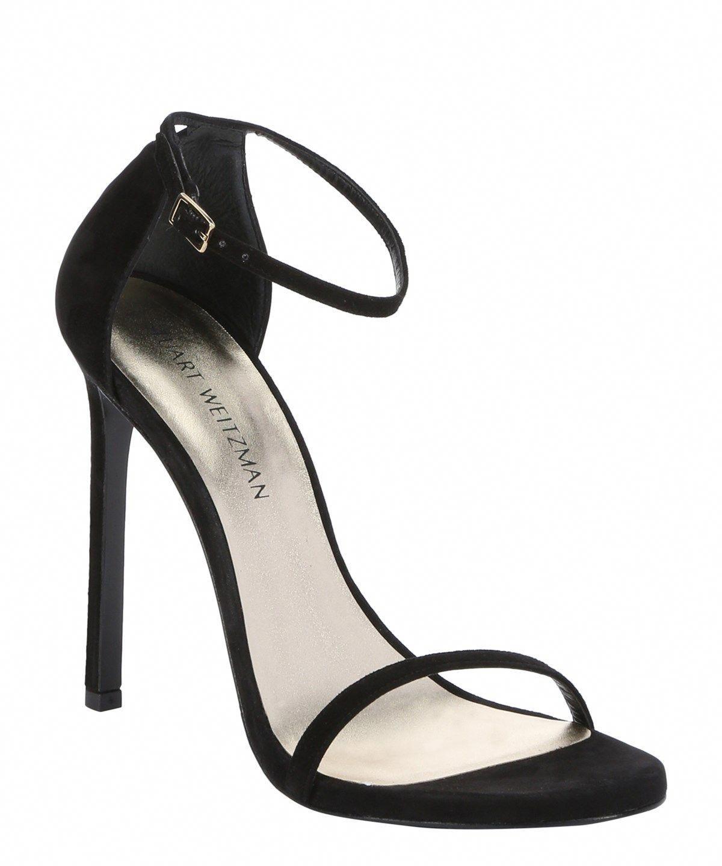 cc0a8b9572 STUART WEITZMAN Black Suede 'Nudist' Stiletto Sandals'. #stuartweitzman # shoes #sandals
