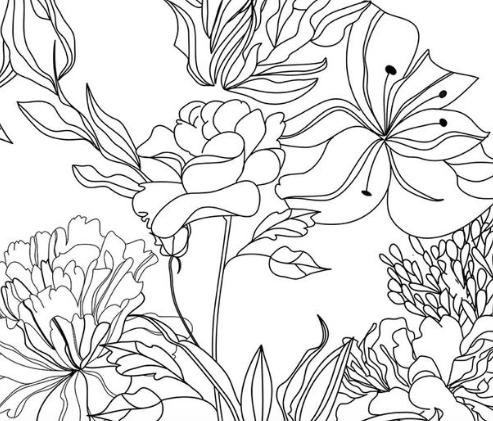 Sketch Floral In 2021 Large Flower Wallpaper Modern Floral Wallpaper Floral Design Drawing