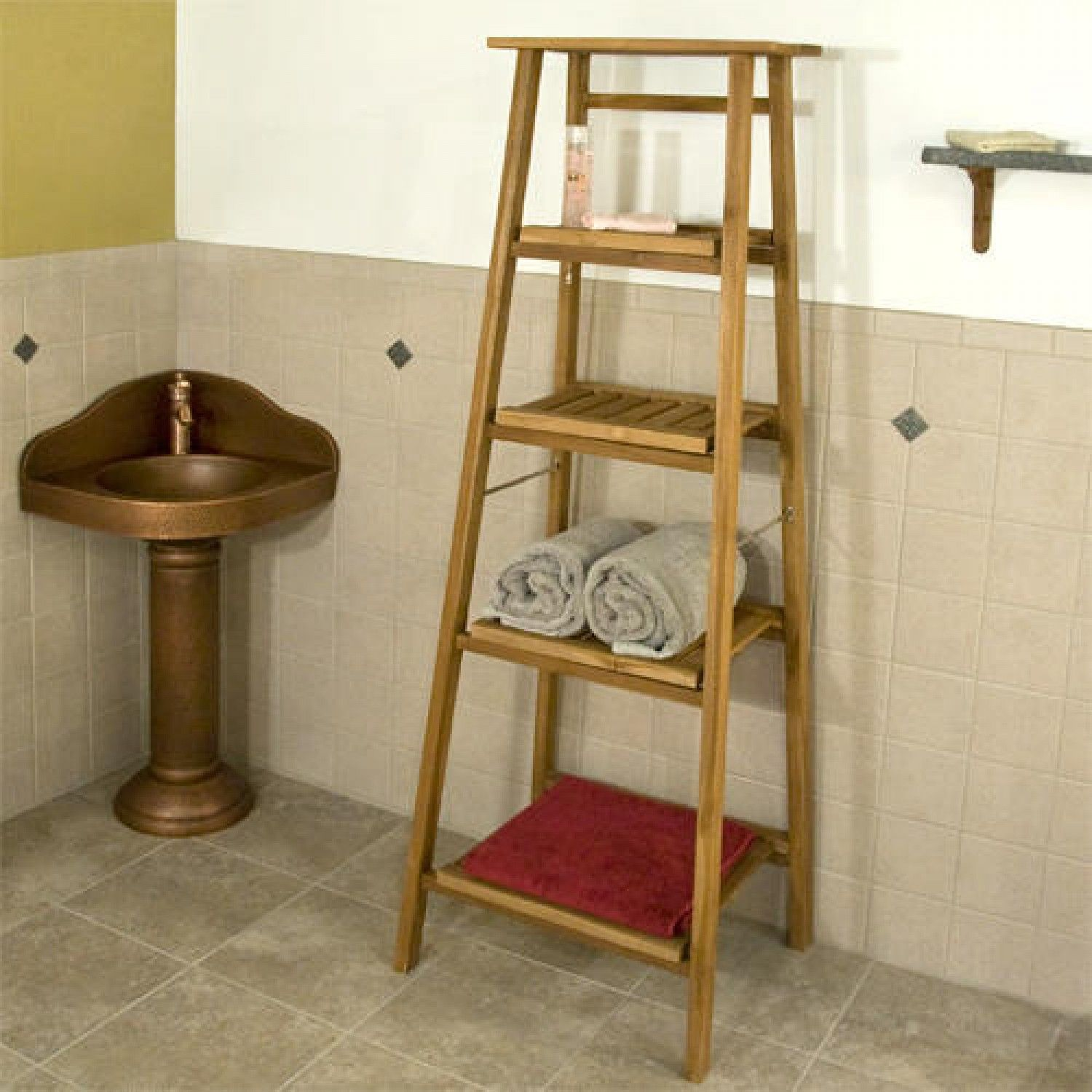 Four Tiered Ladder Style Teak Bathroom Shelf | Bathroom | Pinterest ...