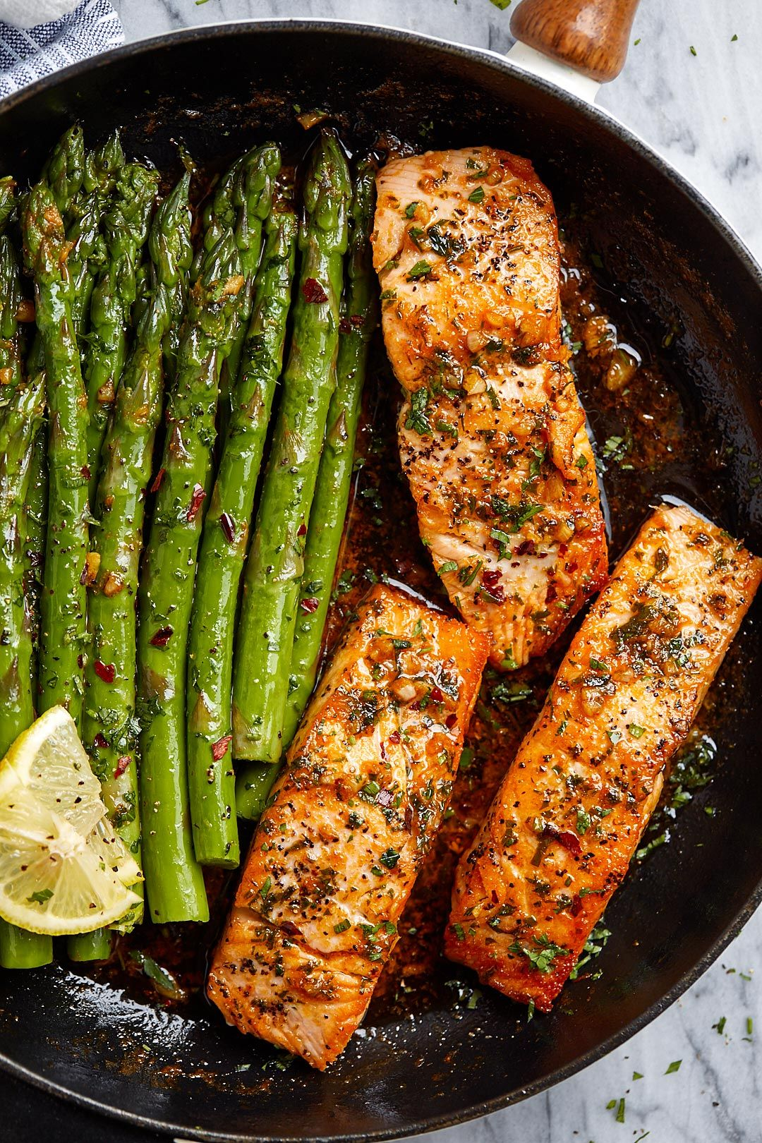 Garlic Butter Salmon with Lemon Asparagus Skillet #meals