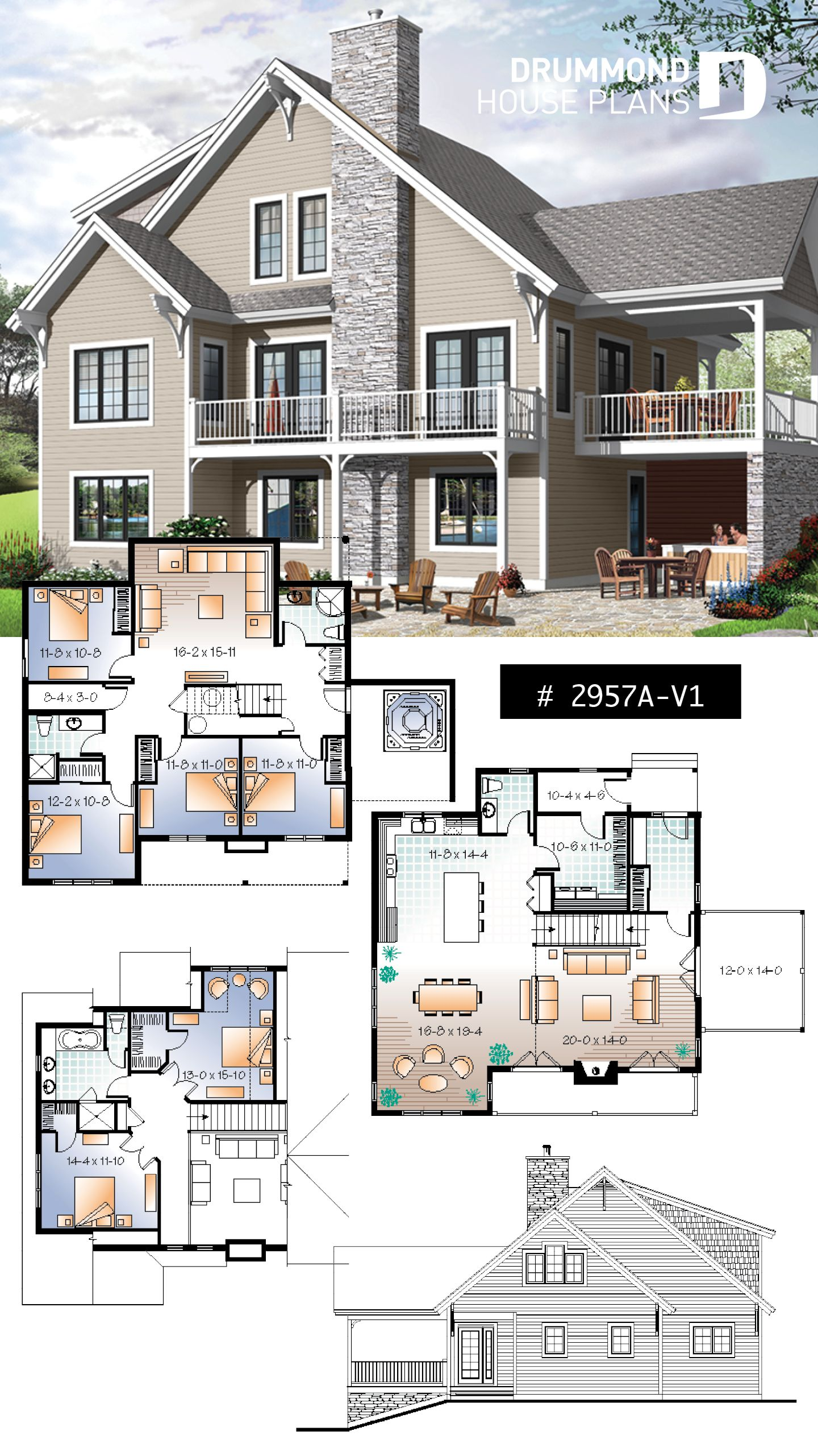 Discover The Plan 2957a V1 Touchstone 6 Which Will Please You For Its 5 2 6 3 4 Bedrooms And For Its Cottage Chalet Cabin Styles Dream House Plans Basement House Plans Cottage House Plans