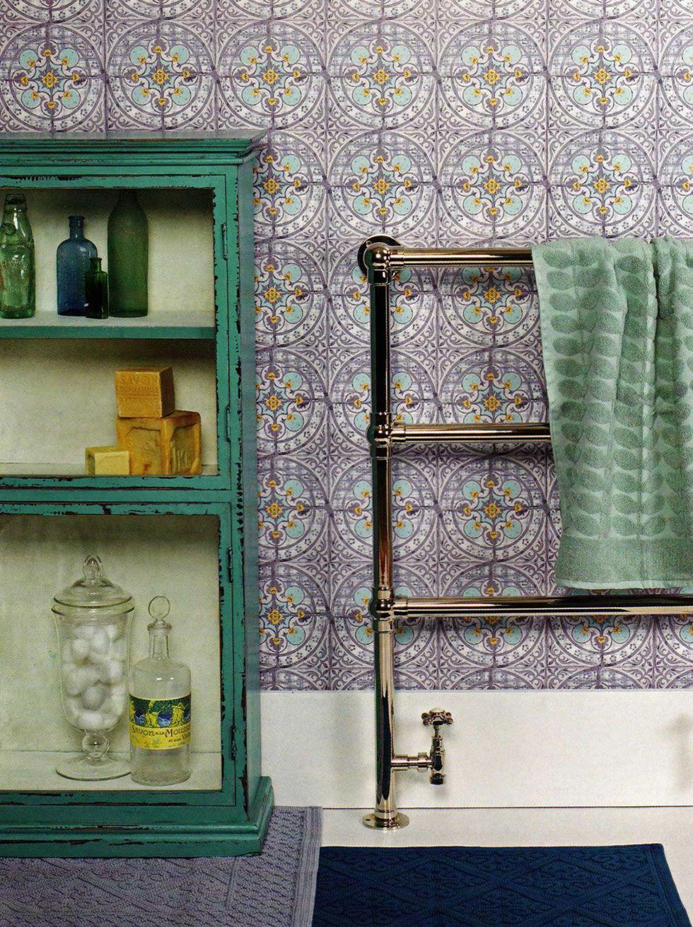 Buttercup Blue Tile wallpaper, Bathroom color schemes