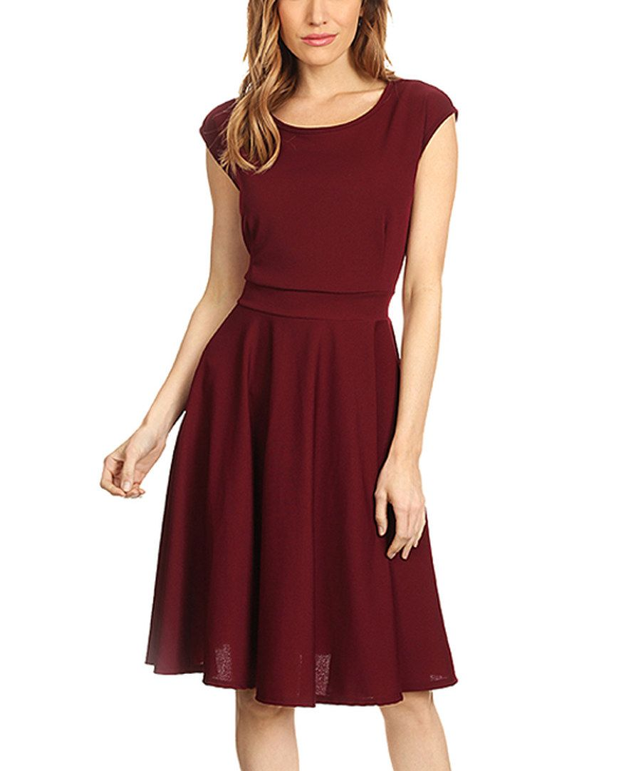 Look At This Burgundy Fit Flare Dress Plus Too On Zulily Today Fit Flare Dress Dresses Fashion Dresses [ jpg ]
